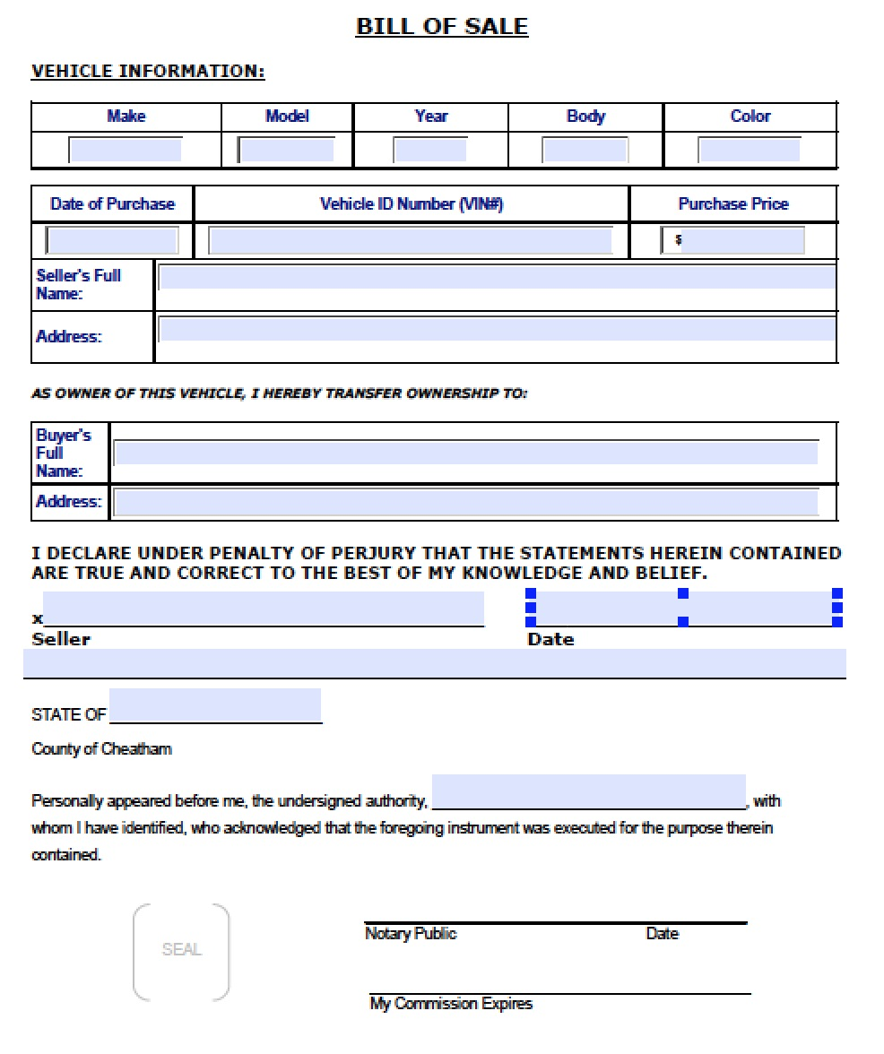 Free Cheatham County, Tennessee Bill Of Sale Form