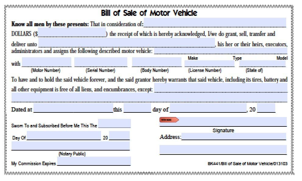 Free Hamilton County, Tennessee Bill Of Sale | Bk441 Form | Pdf