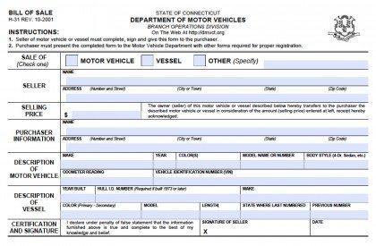 Ct Dmv Bill Of Sale >> Free Connecticut DMV (Vehicle/Boat) Bill of Sale (H-31) Form | PDF | Word (.doc)