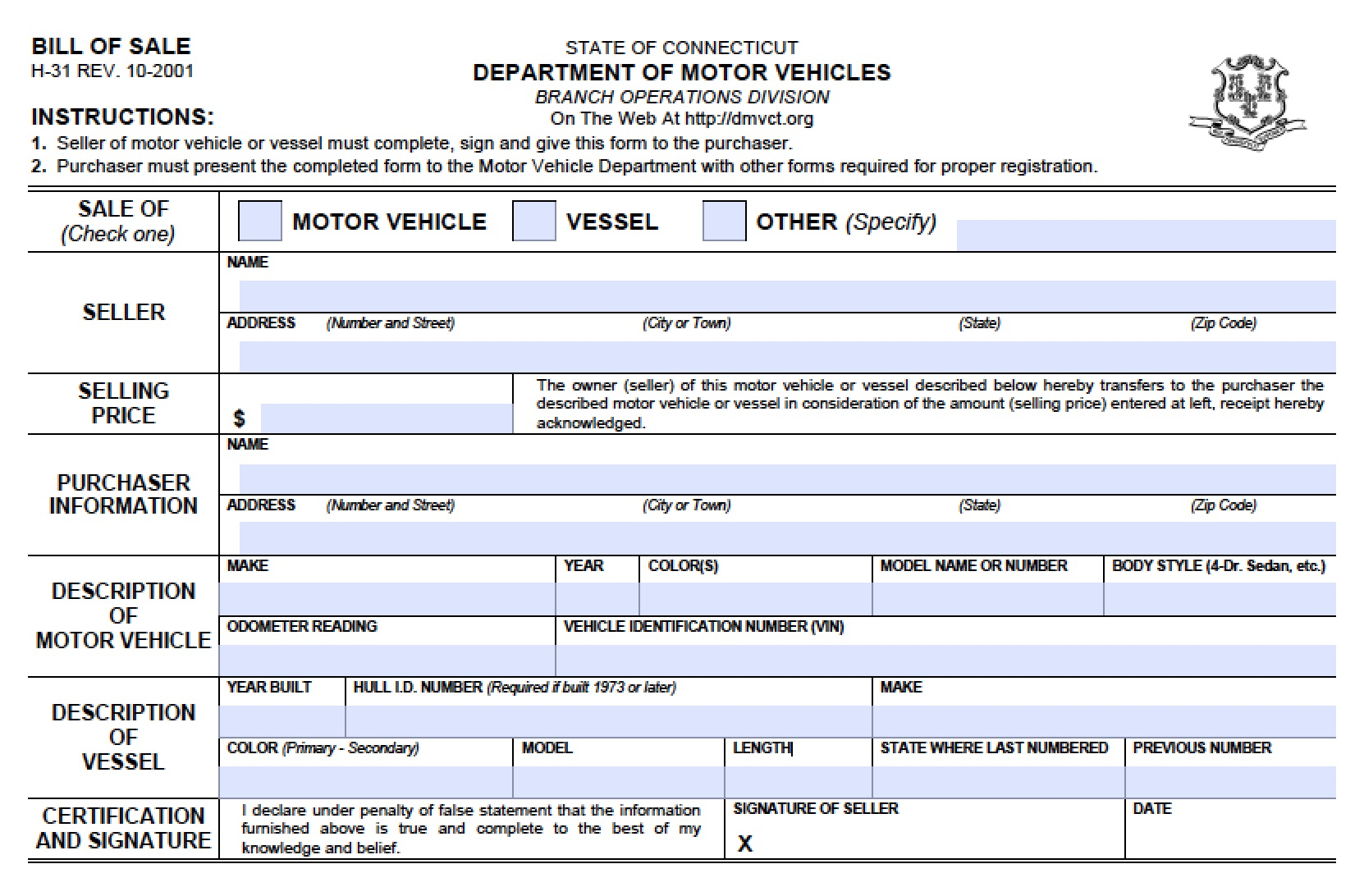 Bill Of Sale For Car Ct Dmv
