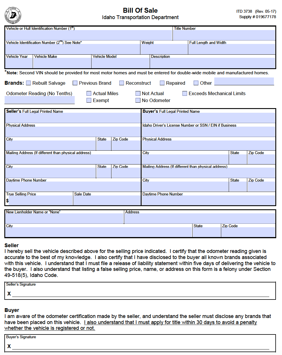free idaho dmv motor vehicle boat bill of sale form itd 3738