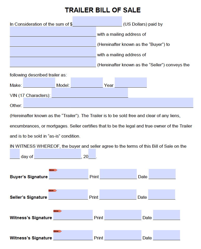 free trailer only bill of sale form pdf word doc