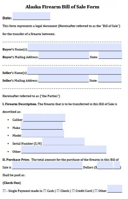 Free Alaska GunFirearm Bill Of Sale Form  Pdf  Word Doc