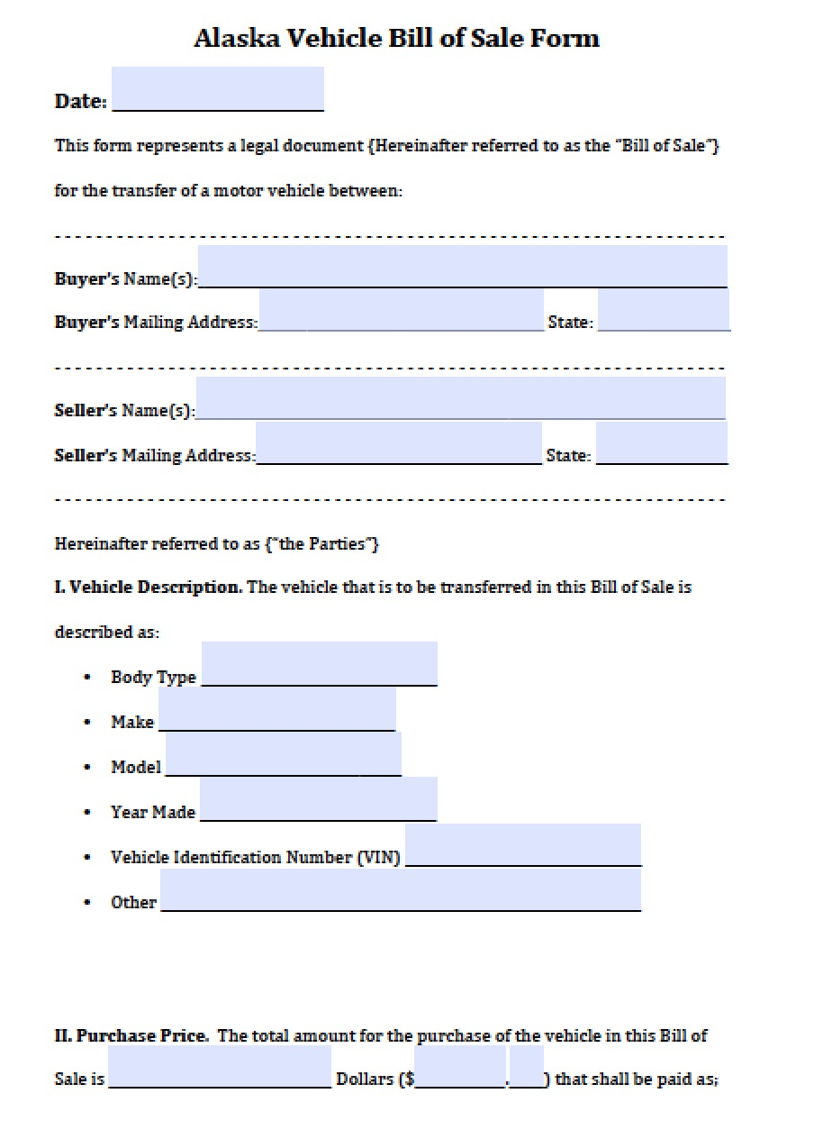 Alaska Vehicle Bill Of Sale  Bill Of Sale Template Doc