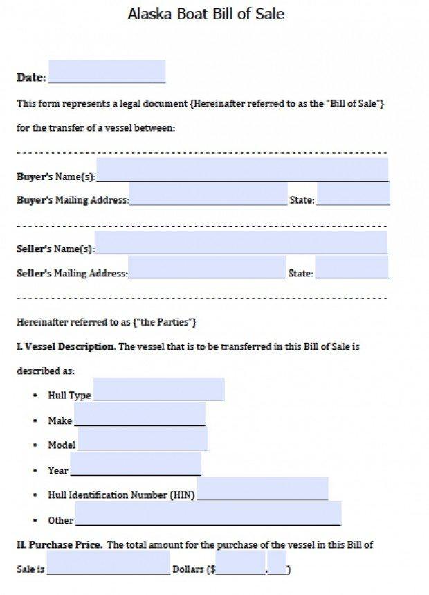 Alaska Vessel Bill of Sale