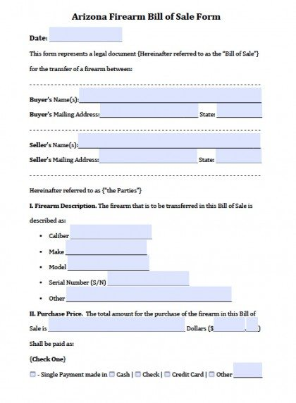 Free Arizona FirearmGun Bill of Sale Form PDF – Gun Bill of Sale