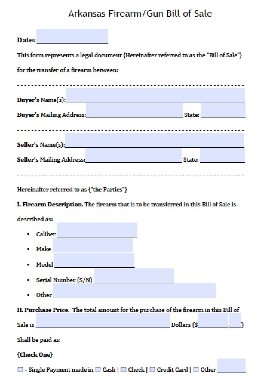 Arkansas Bill Of Sale >> Free Arkansas Firearm Gun Bill Of Sale Form Pdf Word Doc