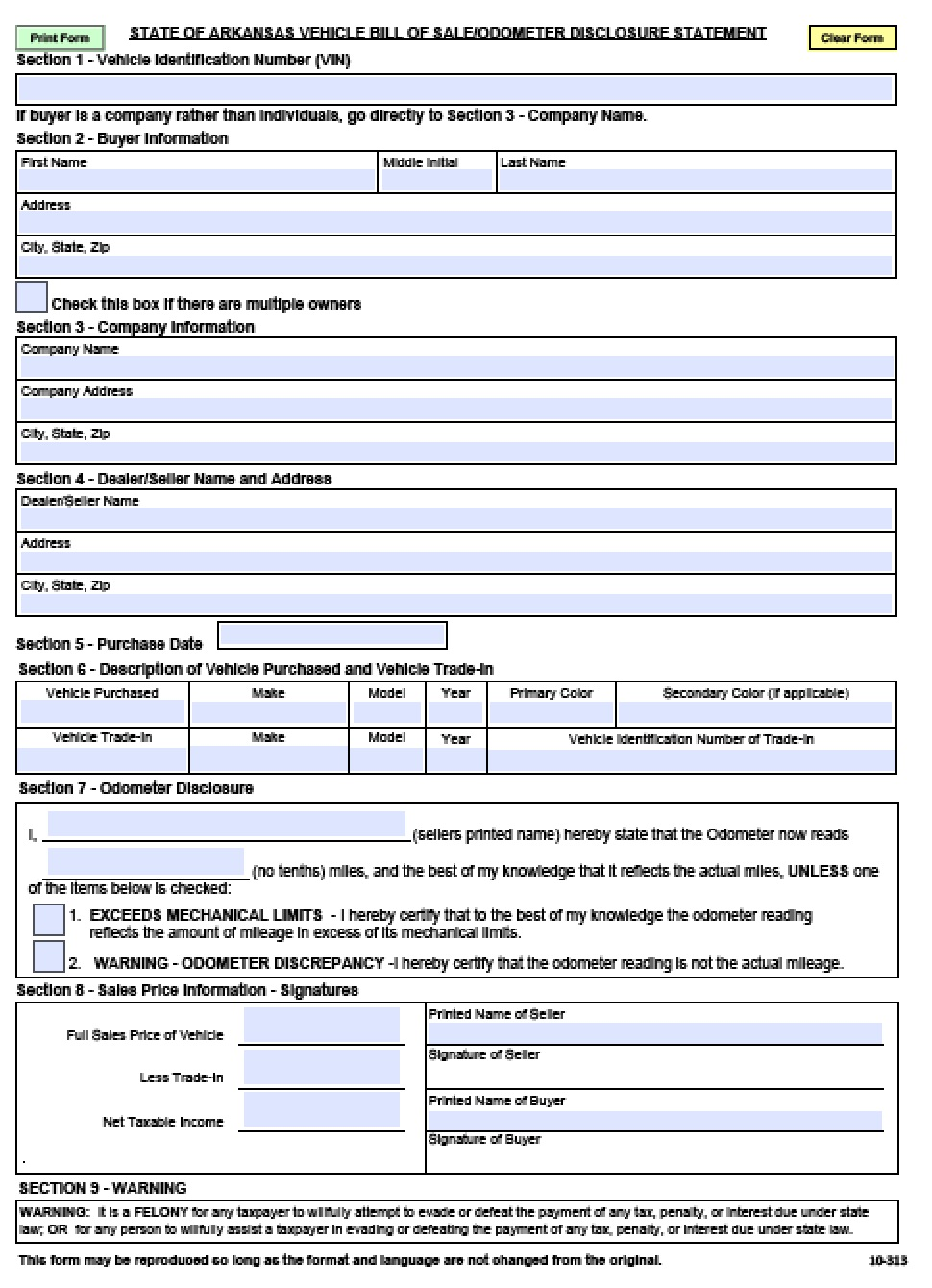 free arkansas motor vehicle commission bill of sale form pdf