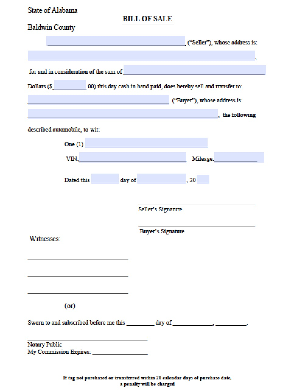 free baldwin county alabama bill of sale form pdf