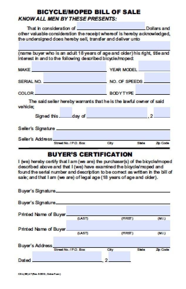 free hawaii bicycle moped bill of sale form pdf word doc