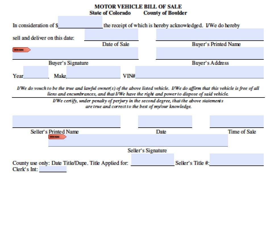 free boulder county colorado bill of sale form pdf word doc
