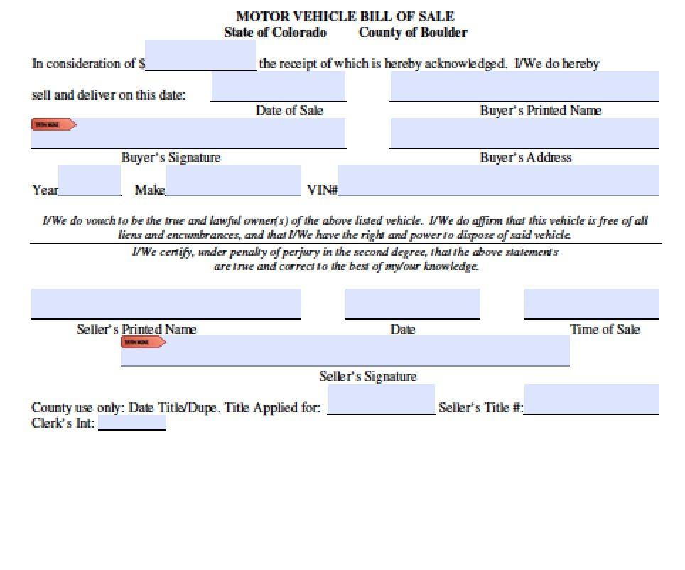 Free colorado boat trailer bill of sale form pdf word for Bill of sale for boat motor and trailer in texas
