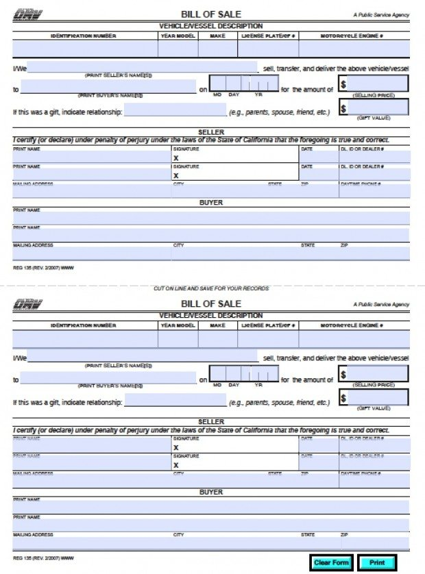 free california dmv bill of sale reg 135 vehicle boat form