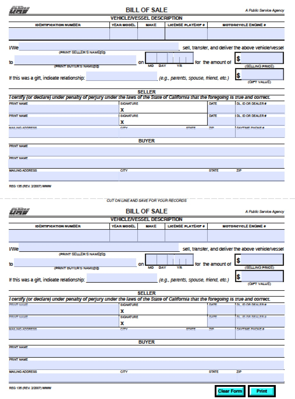 dmv bill of sale form ca Free California DMV Bill of Sale (REG 135) | Vehicle | Boat Form ...