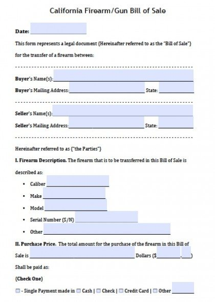 Free California FirearmGun Bill Of Sale Form  Pdf  Word Doc