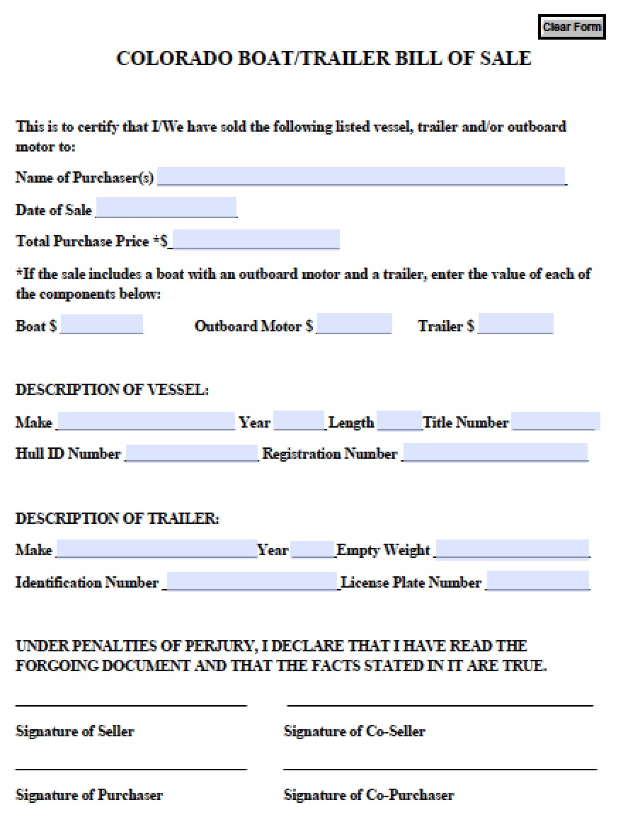 free colorado boat trailer bill of sale form pdf word doc