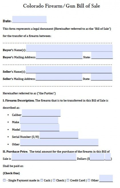 Free Colorado GunFirearm Bill Of Sale Form  Pdf  Word Doc