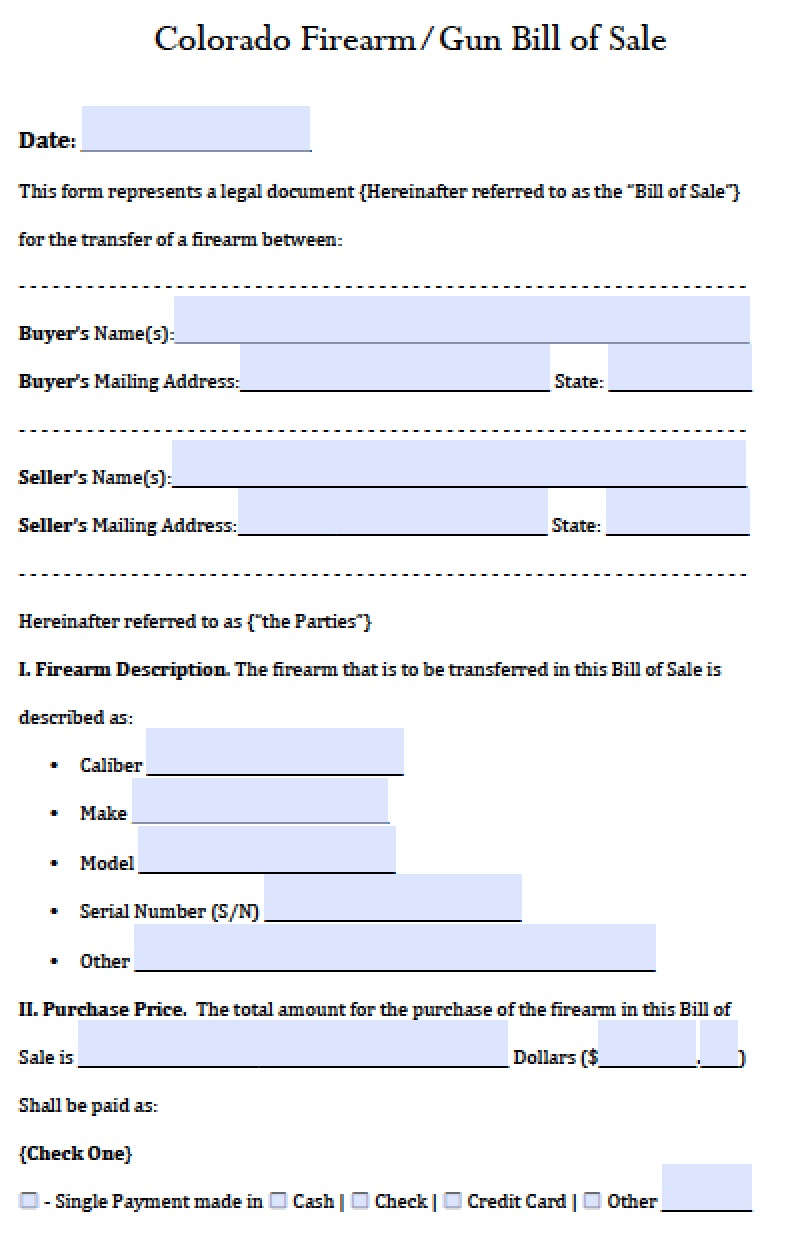 bill of sale colorado