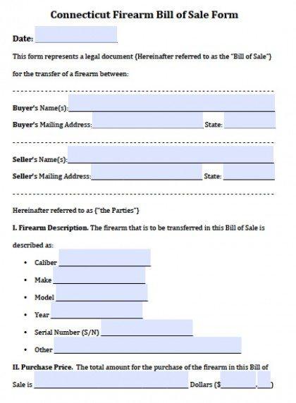 Ct Firearm Bill of Sale