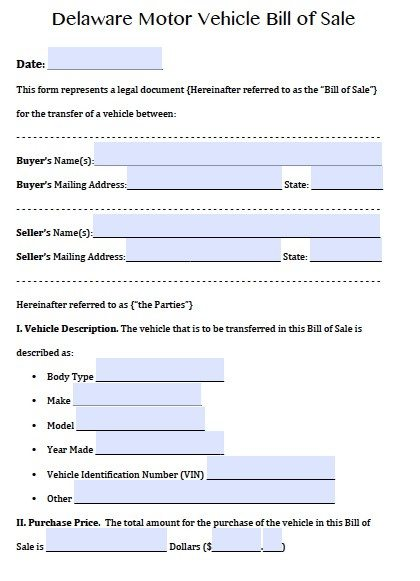 Free Delaware Motor Vehicle (DMV) Bill of Sale Form | PDF ...