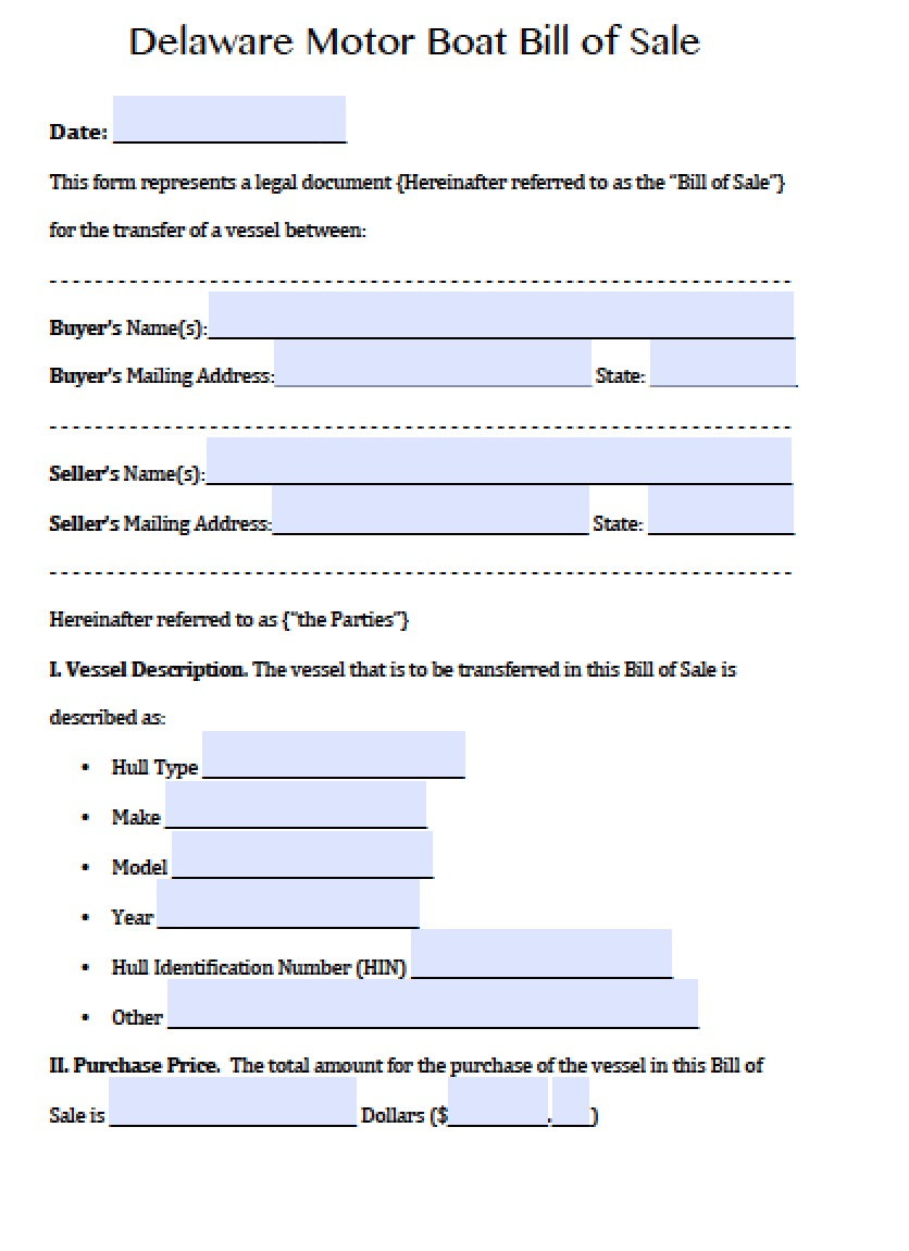 Free Delaware Boat Bill Of Sale Form Pdf Word Doc