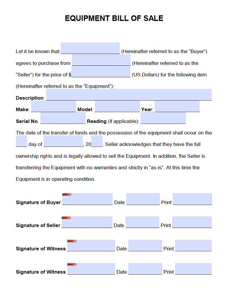 bill of sale equipment Free Equipment Bill of Sale Form | PDF | Word (.doc)