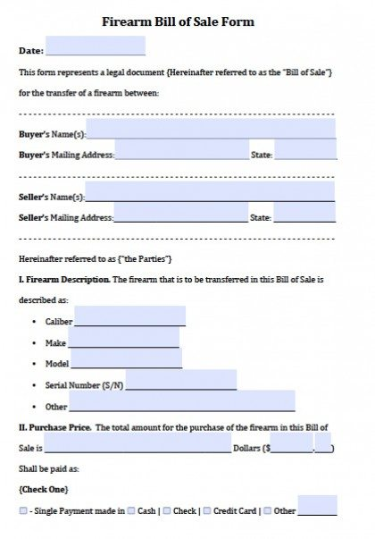 Free Firearm Gun Bill of Sale Forms PDF – Firearms Bill of Sale