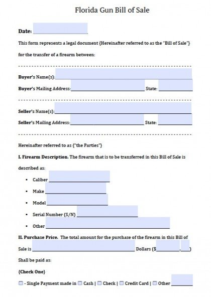 Free Florida FirearmGun Bill Of Sale Form  Pdf  Word Doc