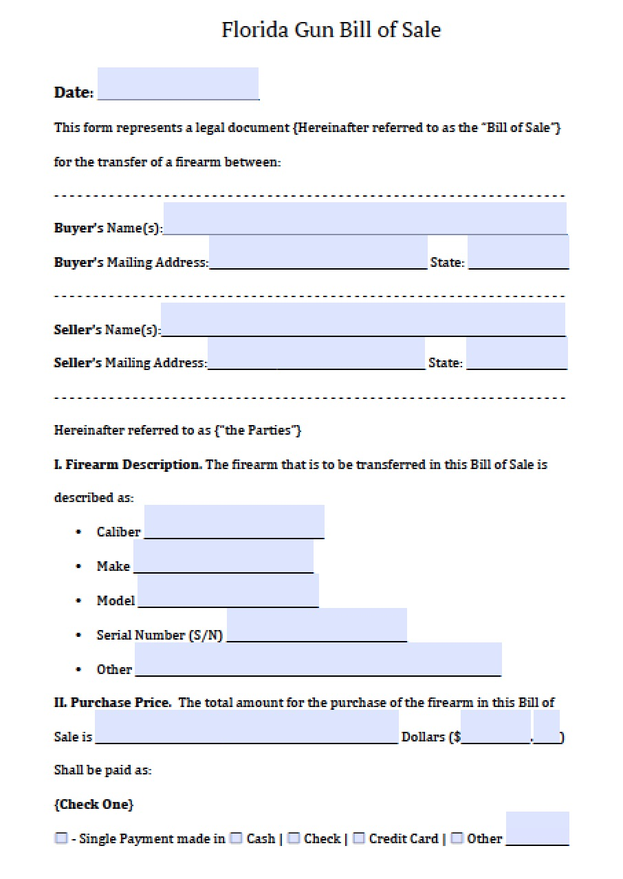 free florida firearm  gun bill of sale form
