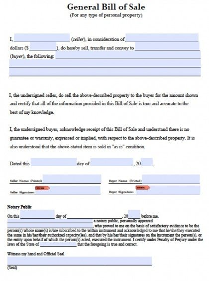 General Blank Bill Of Sale  Bill Of Sale Word Doc
