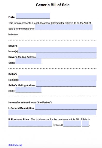 Free General Bill of Sale Forms PDF – General Bill of Sale Form