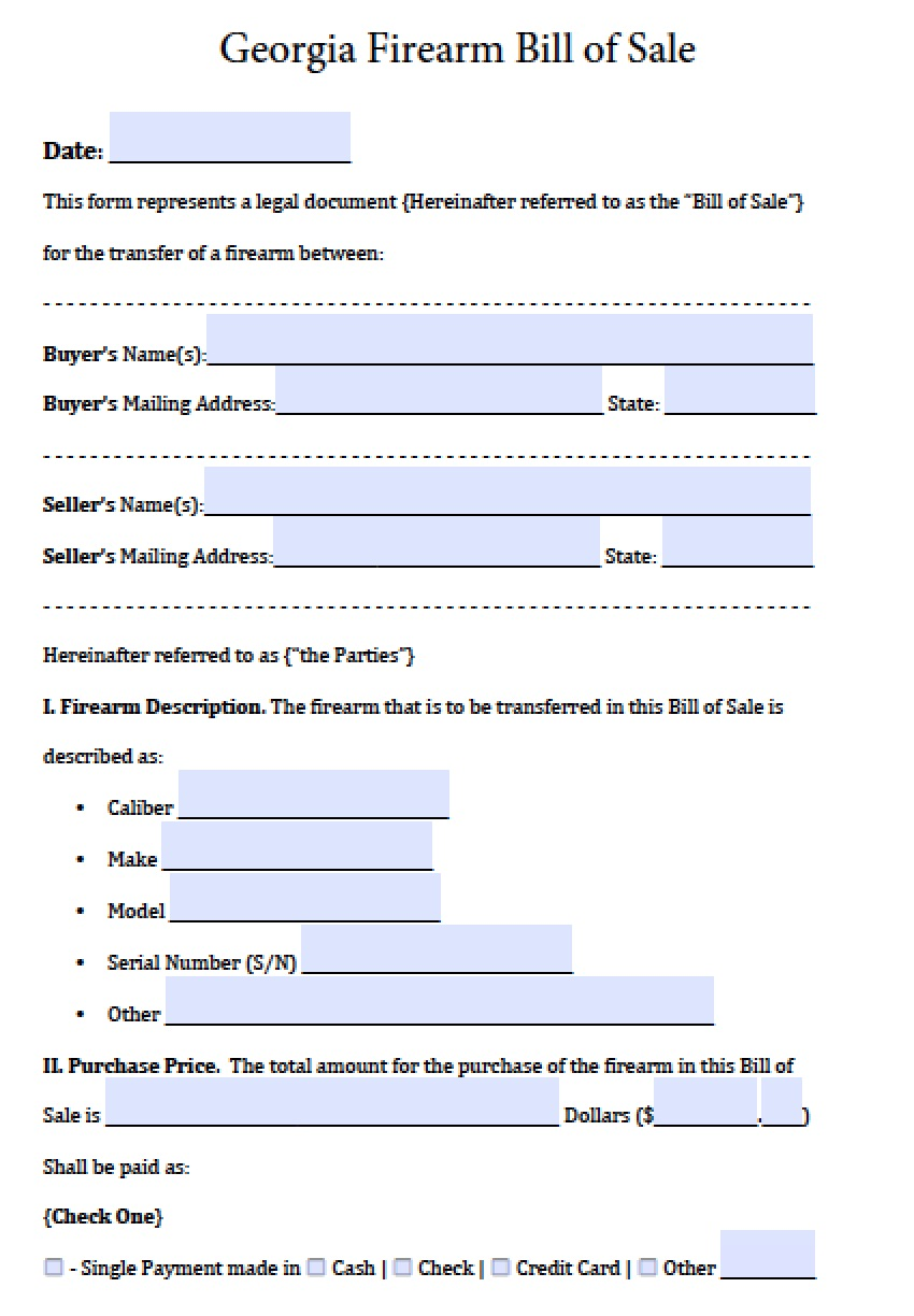 Free Georgia FirearmGun Bill of Sale Form PDF – Bill of Sale for Gun