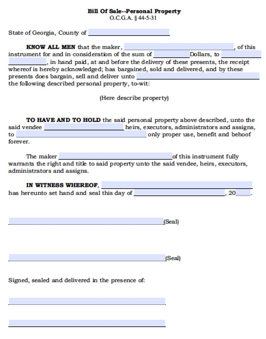Free Georgia Personal Property Bill Of Sale Form Pdf Word Doc