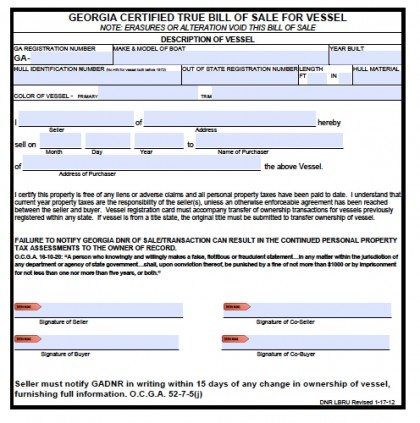 Free Georgia Boat Bill of Sale Form | PDF | Word (.doc)