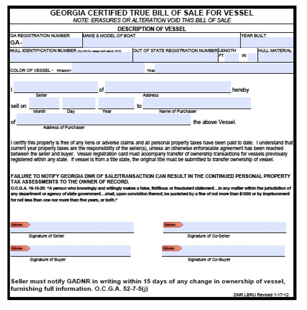 Free georgia boat bill of sale form pdf word doc for Free bill of sale ga