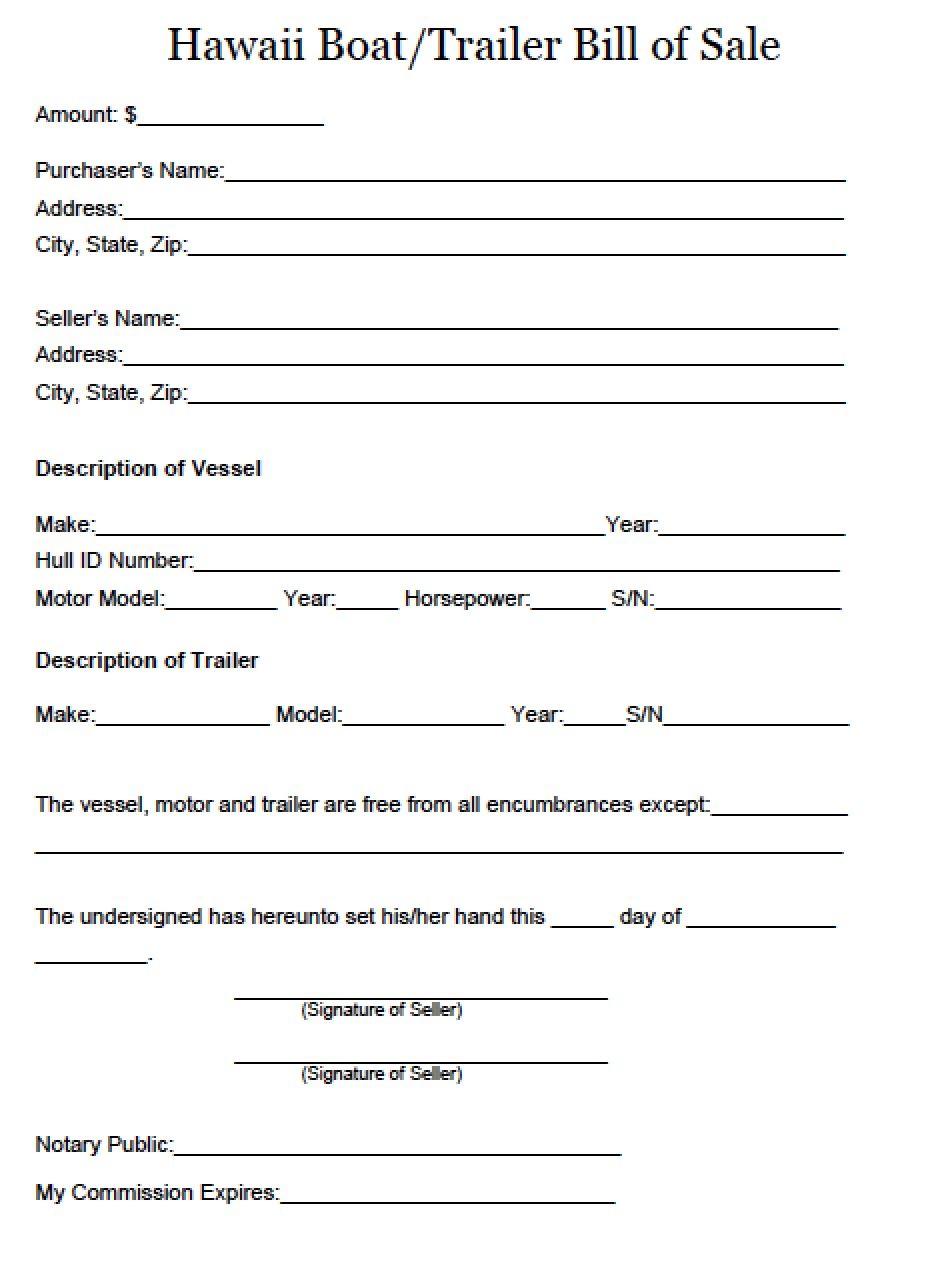 free hawaii boat and trailer bill of sale form pdf word doc