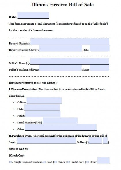 Free Illinois FirearmGun Bill of Sale Form PDF – Bill of Sale for Gun