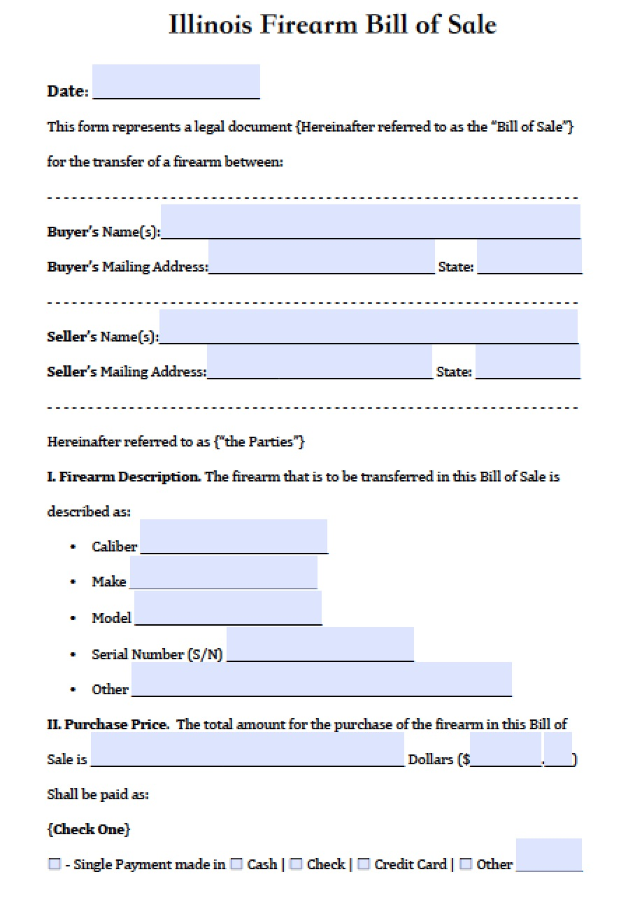 Free Illinois FirearmGun Bill of Sale Form PDF – Gun Bill of Sale