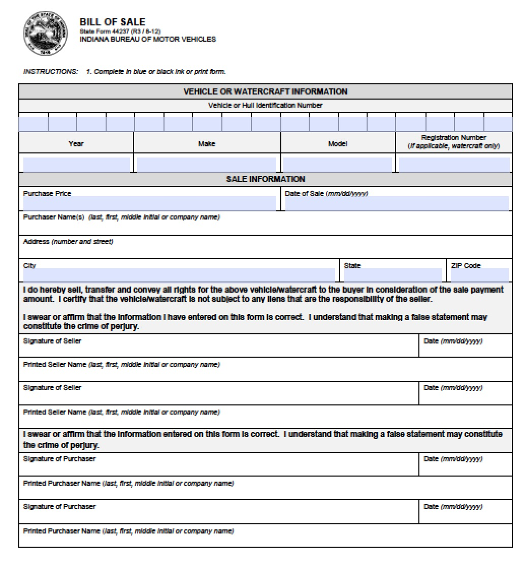 Free Indiana Vehicle (BMV) Bill of Sale | 44237 Form | PDF | Word ...