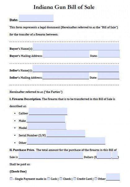 Free Indiana FirearmGun Bill Of Sale Form  Pdf  Word Doc