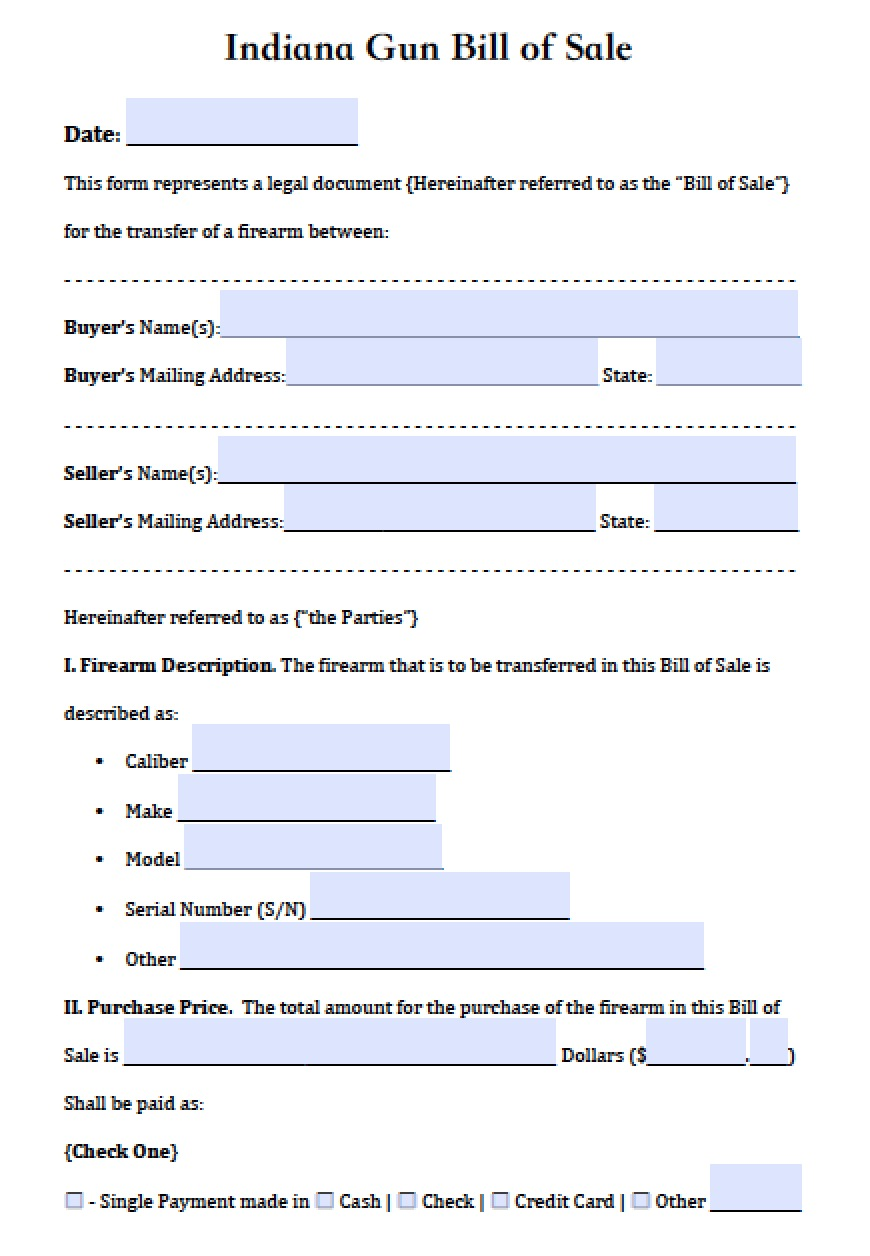 free indiana firearm gun bill of sale form pdf word doc