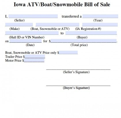 Free Iowa Bill Of Sale For Atv  Boat  Snowmobile Form  Pdf  Word