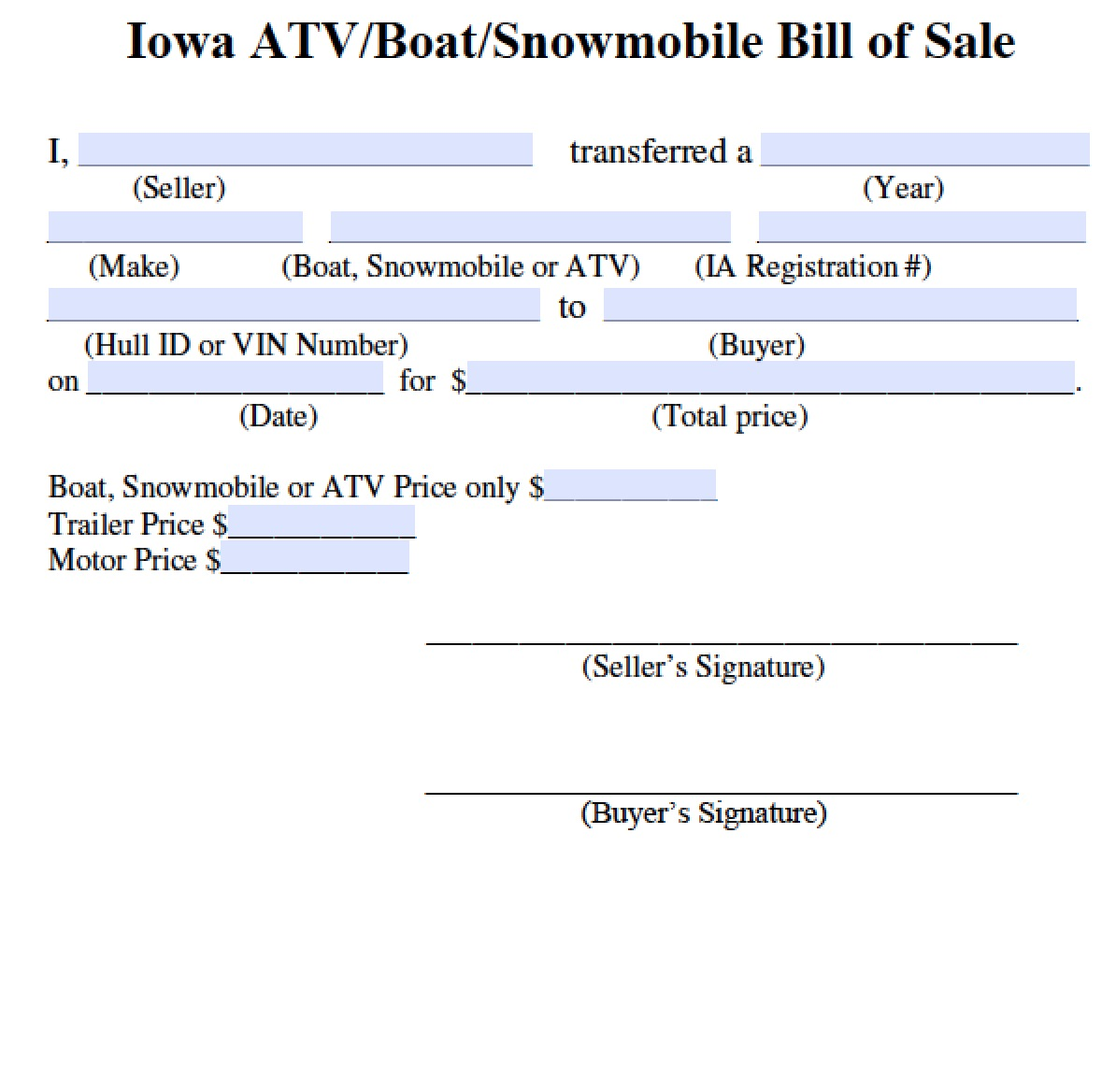 bill of sale iowa Free Iowa Bill of Sale for ATV | Boat | Snowmobile Form | PDF ...