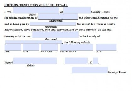 Jefferson County, Texas Vehicle Bill of Sale