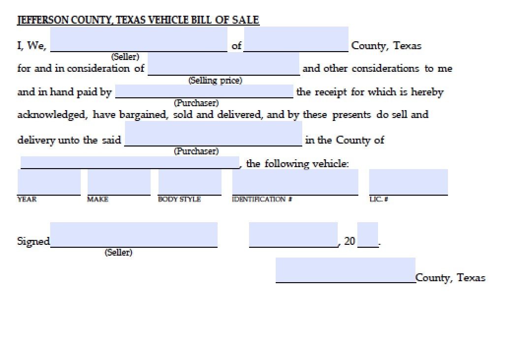 Free Jefferson County Texas Vehicle Bill Of Sale Form  Pdf
