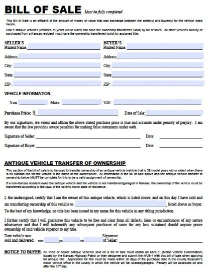 Free Kansas DMV Vehicle Bill of Sale TR12 Form PDF – Bill of Sale for Car