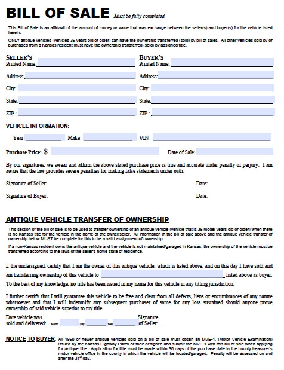 Kansas DMV (Vehicle) Bill Of Sale | TR 12  Bill Of Sale Template Doc