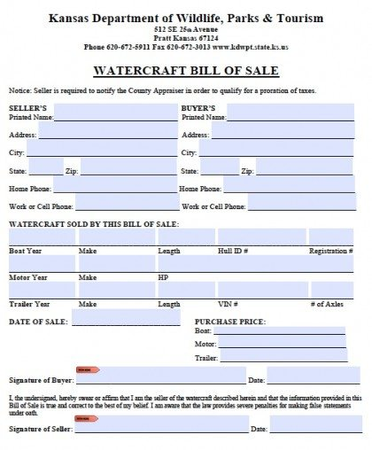 Free Kansas Boat Bill Of Sale Form | Pdf | Word (.Doc)