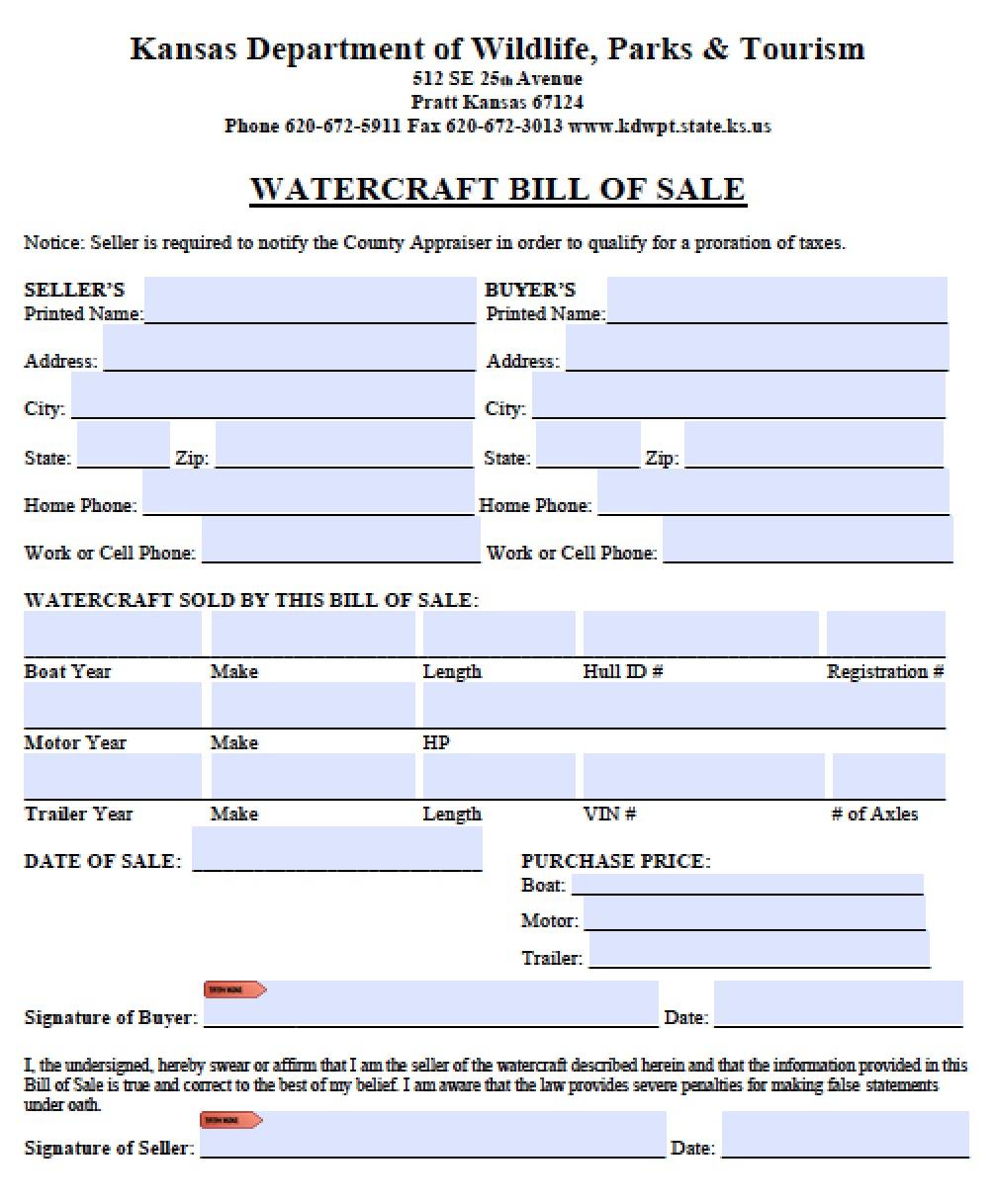 free kansas vessel bill of sale form