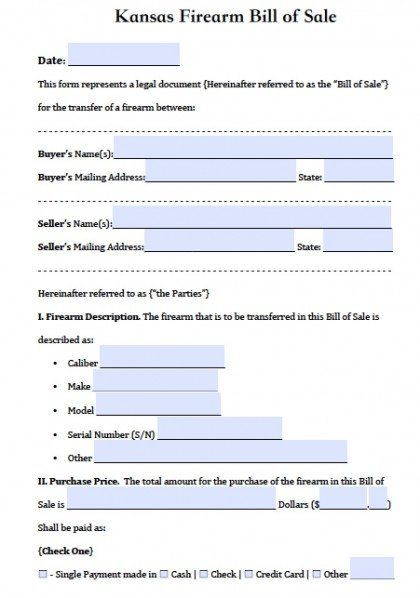 Free Kansas FirearmGun Bill Of Sale Form  Pdf  Word Doc